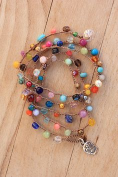 Dainty Crochet Necklace&Bracelet (You Can Order Wholesale) Antique Brown Nylon Cord (C-Lon) , 5-6 mm quality semi precious stones, CZ glass-crystal beads Boho Crochet Necklace made extra long for you to wear it many ways. wraps about 5 times around the wrist or twice around your