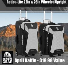 "You can win a $319.98 Granite Gear Reticu-Lite 22"" Wheeled Carry On Upright and Granite Gear Reticu-Lite 26"" Wheeled Upright. Submit your entry now."