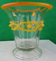 "Daum Nancy Vase France 1920 H: 6.5"" Diam: 6.5"""