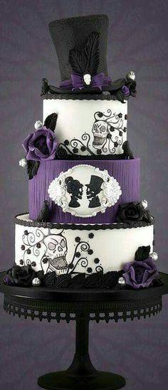 Gothic Wedding Cake – Famous Last Words Gothic Wedding Cake, Purple Wedding Cakes, Steampunk Wedding Cake, Gothic Wedding Dresses, Gothic Wedding Ideas, Skull Wedding Cakes, Skull Cakes, Purple Cakes, Cake Wedding