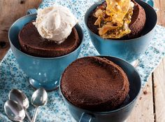 Spoil friends or family with these little chocolate puddings with a variety of toppings. Make extra nut brittle if you like – it's also great as an anytime snack. Chocolate Pudding, Chocolate Recipes, Yummy Treats, Yummy Food, South African Recipes, Trifle, Food Inspiration, Sweet Tooth, Cooking Recipes
