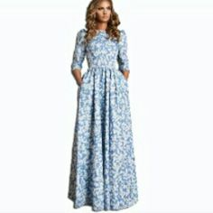 """Beautiful long dress Brand new never wore. Amazing long light blue and white floral long dress. Fits better if your taller than 5""""3 fits xs-small size good. Pockets both sides Dresses Maxi"""