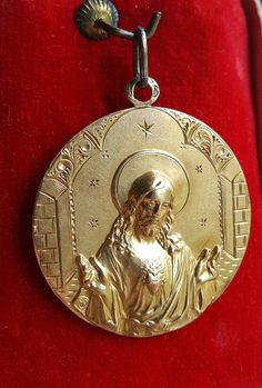 18K Gold Antique Spanish Sacred Heart of Jesus Medal  Catholic Jewelry Engraved MI IM April 18 Religious Communion Gift Jesus Medal by PinyolBoiVintage on Etsy