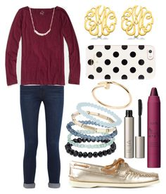 """Hold Me Down"" by emmacaseyyyy ❤ liked on Polyvore featuring Frame Denim, J.Crew, Sperry Top-Sider, Allurez, Forever 21, Topshop, tarte, Ilia, Kate Spade and Cartier"