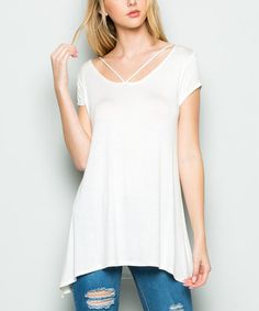 Love this Ivory Strappy Sidetail Tunic - Plus Too on #zulily! #zulilyfinds