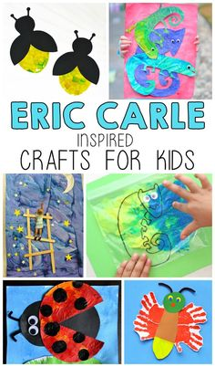 Today I'm sharing 12 of my favorite Eric Carle inspired crafts and activities. Eric Carle is a popular author, especially among preschool children. These crafts Preschool Art Projects, Preschool Crafts, Preschool Activities, Projects For Kids, Crafts For Kids, Arts And Crafts, Book Activities, Children Crafts, Preschool Bulletin
