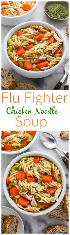 SO MUCH FLAVOR in this healthy Flu Fighter Chicken Noodle Soup. Click through for the recipe and to read the rave reviews.