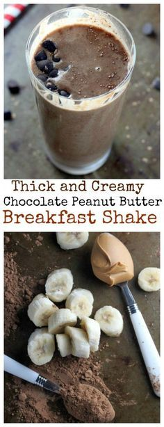 Thick and Creamy Chocolate Peanut Butter Breakfast Shake - you've got to try this decadent yet healthy chocolate shake! Perfect for a quick breakfast!