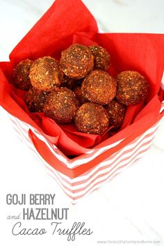 Clean Eating Goji Berry and Hazelnut Cacao Truffles...raw, vegan, gluten-free, dairy-free, paleo-friendly and no refined sugar | The Healthy Family and Home | #rawfoods #vegan #glutenfree #cleaneating #truffles