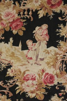 Antique French Floral Toile Block Printed Cotton Fabric c1860 Black