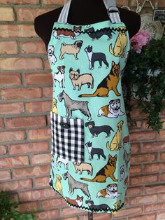 Dog Apron ~ Full Cotton Dog-Lover Apron ~ UPcycled ~ One- of-a-Kind ~ Pug, Terrier, Boxer, Corgi, Lab, Bulldog ~ Gingham Pocket for Phone!! by ArtThatCooks on Etsy