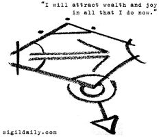 """New Sigil: """"I will attract wealth and joy in all that I do now. Wiccan Symbols, Magic Symbols, Symbols And Meanings, Sacred Symbols, Wiccan Spell Book, Wiccan Spells, Magic Spells, Sigil Magic, Symbol Tattoos"""