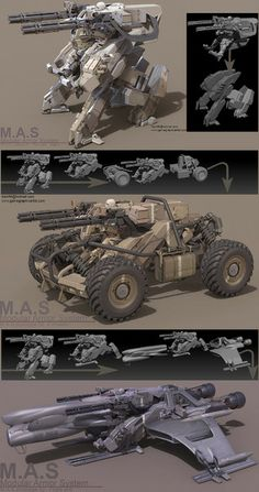 It\'s the concept art about M.A.S(Modular Armor System).They share the same main unit. According to a task replaceable part can be added on it.Heavily inspired by MGS Rex and Ma.k Fledermaus.