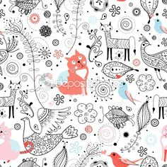 Graphic pattern of animals by tanor - Imagens vectoriais em stock