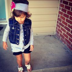 Little girl fall outfit #denimvest #laceshorts