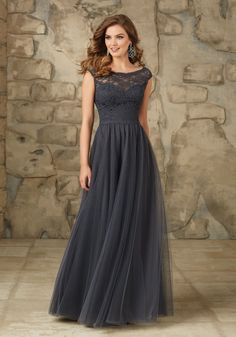Long and Elegant Lace and Tulle Bridesmaid Dress Designed by Madeline Gardner. Zipper Back.