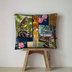 UNIQUE French Needlepoint Tapestry Linen Bird by Retrocollects