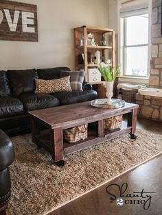 After putting together this easier-than-it-looks DIY coffee table with untreated Douglas Fir wood, use wood stain to add color to your creation, then distress the edges with a sander to give it a rustic feel.