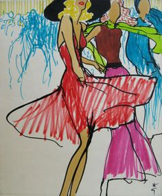 Rene Gruau,  Dancing Girls  1971