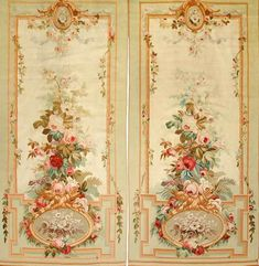 View this item and discover similar tapestries for sale at - Pair of Aubusson Entre-Fenetres , Floral Ground against a creme and mint background .