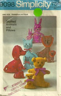 Simplicity 9098 1970s Stuffed Animals Toys Pillows Transfer Pattern Rabbit Dog Lion Cat  and Bear Vintage Crafts Sewing Pattern by patterngate.com