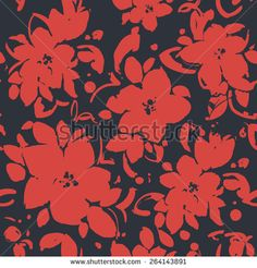 Beautiful seamless background with monochrome flowers. Hand-drawn contour lines and strokes. Red flowers on a dark background - stock vector