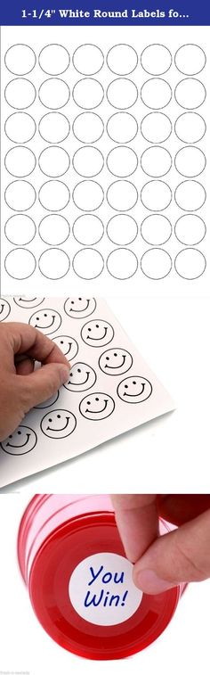 """1-1/4"""" White Round Labels for Laser & Inkjet Printers 