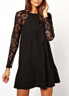 A Line Long Sleeve Black Lace Splicing Mini Dress