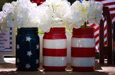 American Flag Mason Jar Set - Veterans day- patriotic centerpieces - Alwaystheoccasion