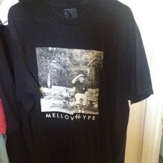 Black tee Black. MellowHype tee with Left Brain and Hodgy Beats together Tops