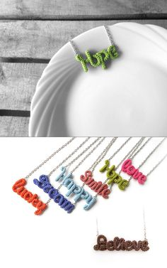 Hey, I found this really awesome Etsy listing at https://www.etsy.com/listing/128139835/hope-necklace-crochet-word-pendant-green