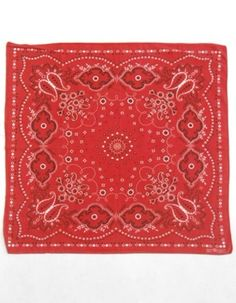 Vintage 60s Red All Cotton Paisley Fast Color Trunk Up Elephant Print Bandana