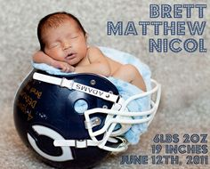 Newborn photo idea, I have a Denver Broncos helmet that baby girl will fit in just perfect! birth announcements sports, baseball birth announcements #baby #newborn