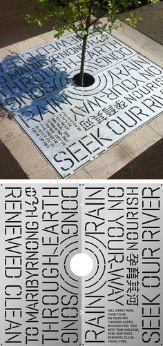 Lasercut steel tree grates designed by HeineJones, in Australia, display poetry through creative typography.