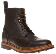 New Mens Hardy Amies Brown Estate Leather Boots Lace Up