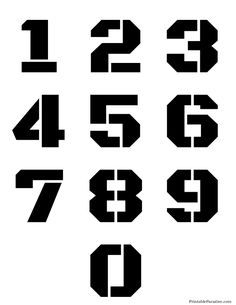 Printable Number Stencils - Free Stencils for Numbers Letter Stencils To Print, Number Stencils, Free Stencils, Printable Stencils, Stencil Font, Graffiti Lettering, Typography Fonts, Hand Lettering, Number Tattoos