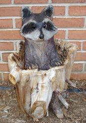 Chainsaw Carving of 'Peeking Raccoon'