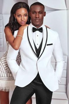 A modern twist on a classic tuxedo style, the Waverly tuxedo features a self shawl lapel edged in black satin and self-piped double besom pockets. Its ultra. White Tuxedo Wedding, Prom Tuxedo, Black And White Tuxedo, Black Satin, Black Trim, Mens Wedding Suits Black And White, White Suits For Men, Tuxedo Dress, Gold Wedding