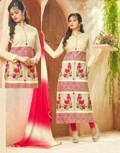 White Georgette Churidar Kameez with Dupatta - Churidar Fashion