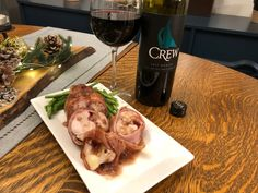 CREW - Colchester Ridge Estate Winery 2017 Merlot VQA Stuffed Chicken with Bacon, Prosciutto and Red Wine Sauce. Prosciutto Ham, Bacon, Brown Mushroom, Essex County, Stuffed Mushrooms, Stuffed Peppers, Complete Recipe, Wine Sauce, Stuffed Chicken