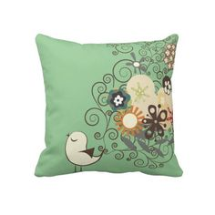 PixDezines retro chick/diy background colors Throw Pillow Created By custom_pillows: