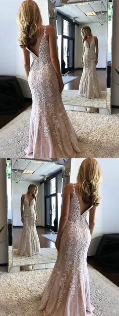 unqiue v neck mermaid prom dresses, stunning evening dresses with appliques, elegant v back party dresses