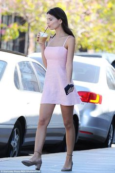 Emily Ratajkowski wearing Reformation Auden Dress in Bashful and Valentino Tango Low-Heel Ankle-Strap Pumps