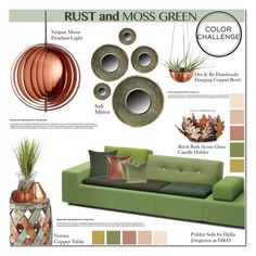 """""""Color Challenge: Moss Green and Rust"""" by asteroid467 ❤ liked on Polyvore featuring interior, interiors, interior design, maison, home decor, interior decorating, VerPan, Polder, VERONA et Villa Home Collection"""