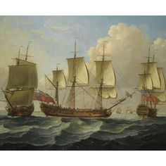 An East Indiaman in three positions