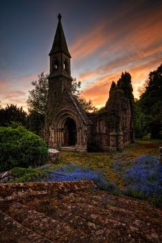 Sunset church ruins in Overton, North Wales, England ✯ ωнιмѕу ѕαη∂у Abandoned Churches, Old Churches, Abandoned Places, Places Around The World, Oh The Places You'll Go, Places To Travel, Around The Worlds, Beautiful World, Beautiful Places