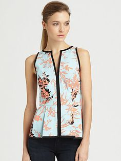 pretty floral top with black piping by Nanette Lepore