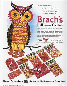 Festively yummy Brach's Halloween candy ad from the 1960s.