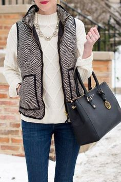 Fall Fashion Outfits for Fall : Picture Description Herringbone vest, classic fall outfit, winter outfit inspiration Adrette Outfits, Fall Fashion Outfits, Preppy Outfits, Look Fashion, Work Outfits, Preppy Work Outfit, Preppy Wardrobe, J Crew Outfits, Net Fashion