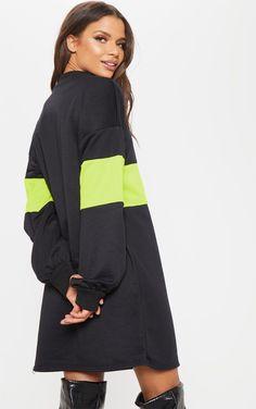 590270b5b99 Black Colour Block Oversized Jumper Dress